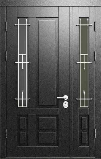 двойные стальные двери со стеклопакетами